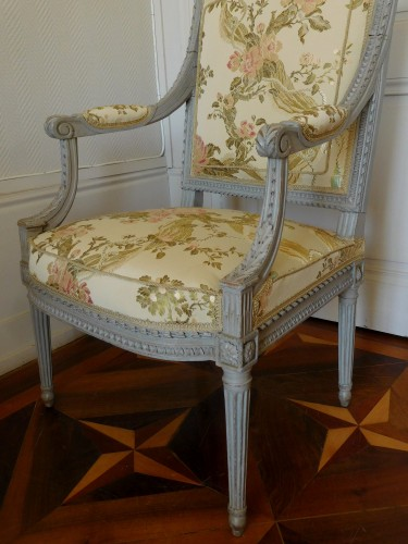 Antiquités - Louis XVI armchair - Stamped Of Marc Gautron