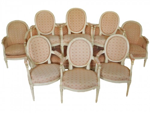 Large set of Louis XVI seats - stamped JB Lelarge