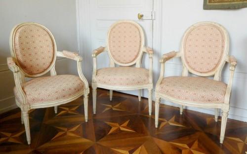 Louis XVI - Large set of Louis XVI seats - stamped JB Lelarge