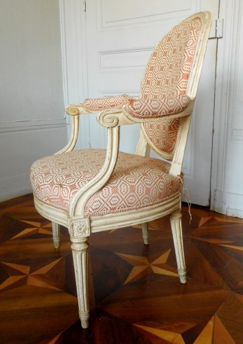 Antiquités - Large set of Louis XVI seats - stamped JB Lelarge