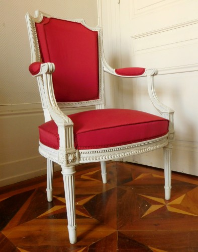 Henri Jacob - Louis XVI Cabriolet Armchair - Very Finely Carved And  - Seating Style Louis XVI