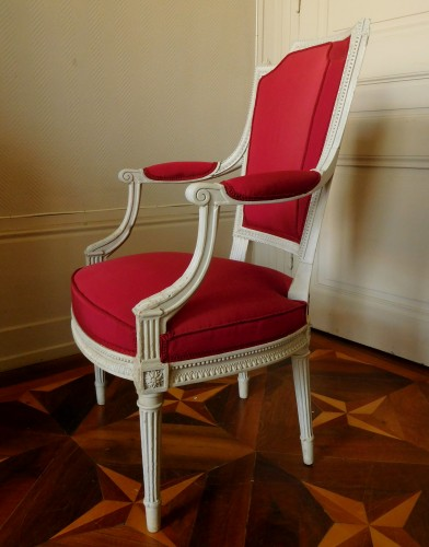 Henri Jacob - Louis XVI Cabriolet Armchair - Very Finely Carved And  - Louis XVI