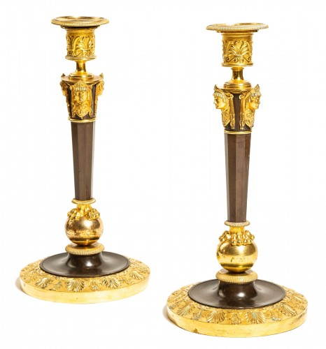 Claude Galle : pair of tall Empire ormolu candlesticks