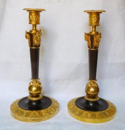 Lighting  - Claude Galle : pair of tall Empire ormolu candlesticks