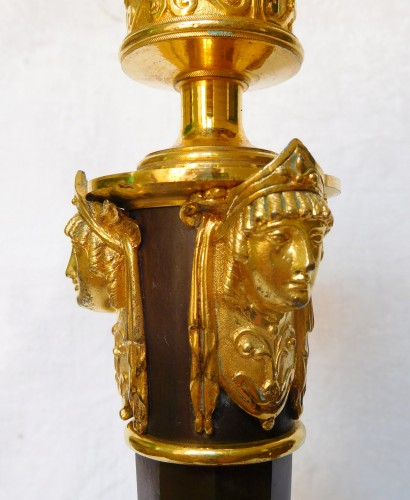 Empire - Claude Galle : pair of tall Empire ormolu candlesticks