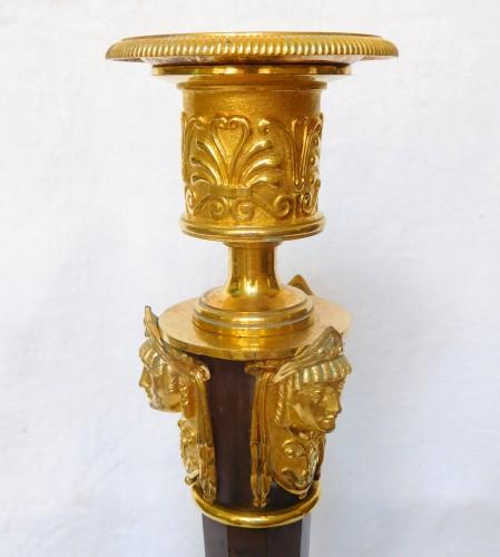 Antiquités - Claude Galle : pair of tall Empire ormolu candlesticks