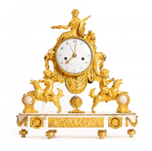 Large Louis XVI ormolu and marble clock, model of Prince Eugène (Malmaison)