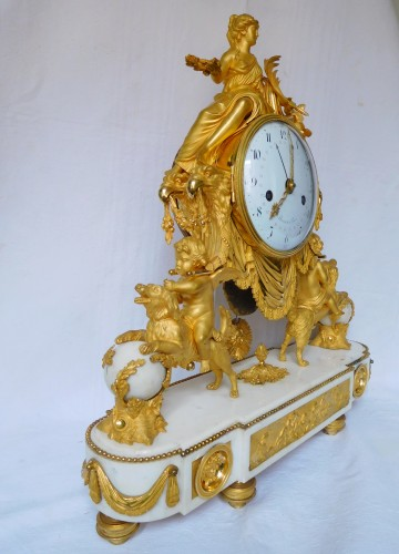 Large Louis XVI ormolu and marble clock, model of Prince Eugène (Malmaison) -