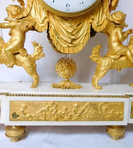 Antiquités - Large Louis XVI ormolu and marble clock, model of Prince Eugène (Malmaison)