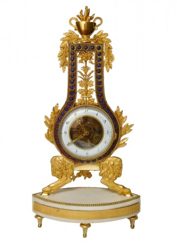 Lyre Ormolu And Marble Clock - Directoire Period Circa 1795-1800