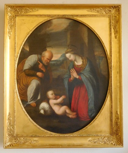 Holy Family After Raphael - 17th Century Italian School - Paintings & Drawings Style Louis XIV