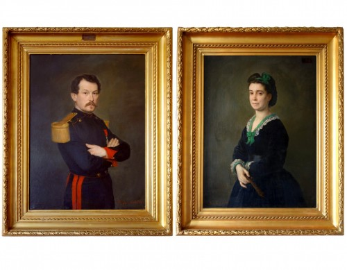 Large Pair Of 19th Century Portraits, Ch Poterin Du Motel (1815 - 1883)
