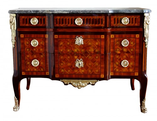 Commode Transition en marqueterie estampille de Pierre Macret