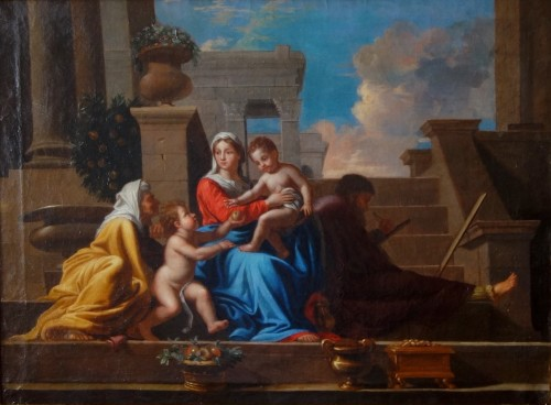 Holy Family after Nicolas Poussin, early 18th century French school - Paintings & Drawings Style Louis XIV