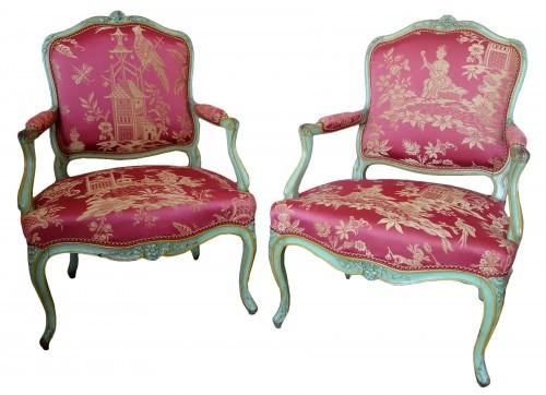 Pair of Louis XV armchairs à la Reine - Sylvain Blanchard stamp