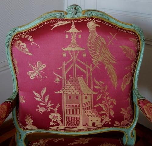 Louis XV - Pair of Louis XV armchairs à la Reine - Sylvain Blanchard stamp