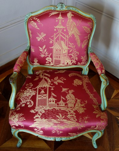 Antiquités - Pair of Louis XV armchairs à la Reine - Sylvain Blanchard stamp
