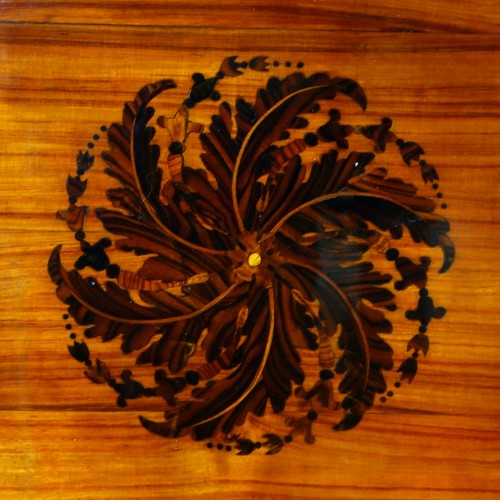 Antiquités - Louis XVI marquetry corner cabinet - stamped by Topino
