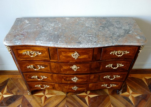 Large Marquetry Commode (145cm) Louis XV Period , Stamp of François Garnier - Louis XV
