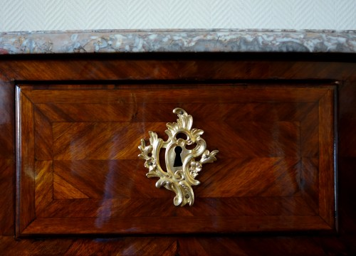 Antiquités - Large Marquetry Commode (145cm) Louis XV Period , Stamp of François Garnier