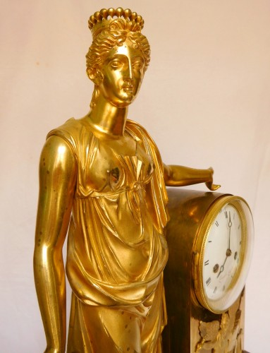 Horology  - Tall Empire Clock By Lesieur And Thomire - Allegory Of Diplomacy