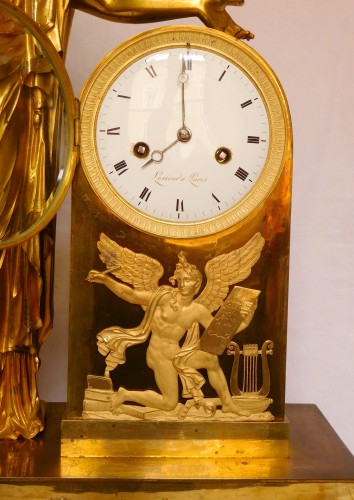 Antiquités - Tall Empire Clock By Lesieur And Thomire - Allegory Of Diplomacy