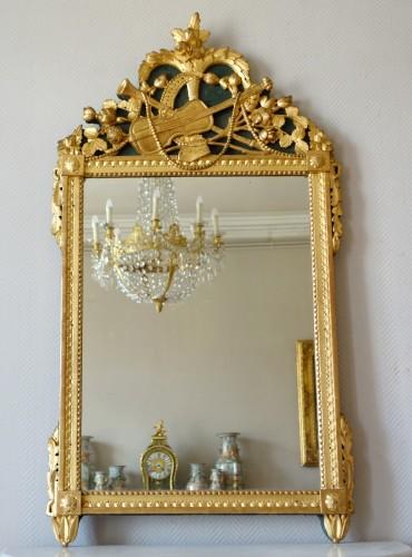 Louis XVI provencal giltwood Mirror - Mirrors, Trumeau Style Louis XVI