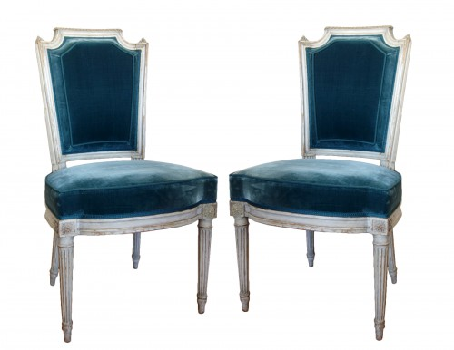 Pluvinet : Set Of 4 Louis XVI Finely Carved Chairs - Stamped