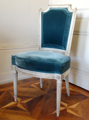 Pluvinet : Set Of 4 Louis XVI Finely Carved Chairs - Stamped - Seating Style Louis XVI