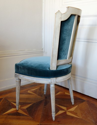 Pluvinet : Set Of 4 Louis XVI Finely Carved Chairs - Stamped -