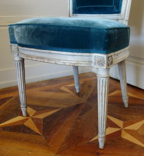 Louis XVI - Pluvinet : Set Of 4 Louis XVI Finely Carved Chairs - Stamped