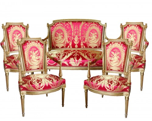Louis XVI gilt wood salon suite