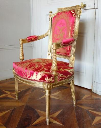 Antiquités - Louis XVI gilt wood salon suite