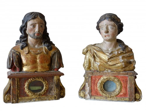 Pair of reliquary busts in polychrome and gilded wood
