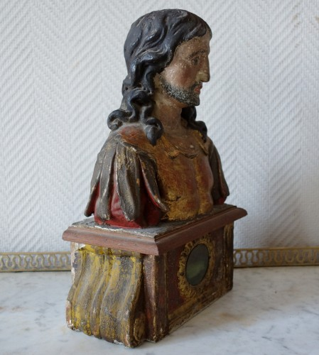 Pair of reliquary busts in polychrome and gilded wood - Religious Antiques Style Louis XIV