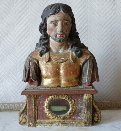 Religious Antiques  - Pair of reliquary busts in polychrome and gilded wood