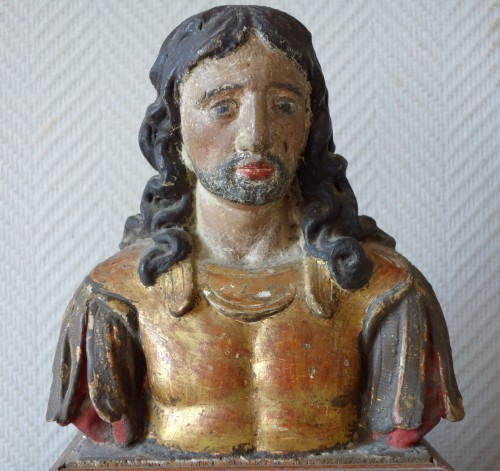 Pair of reliquary busts in polychrome and gilded wood -