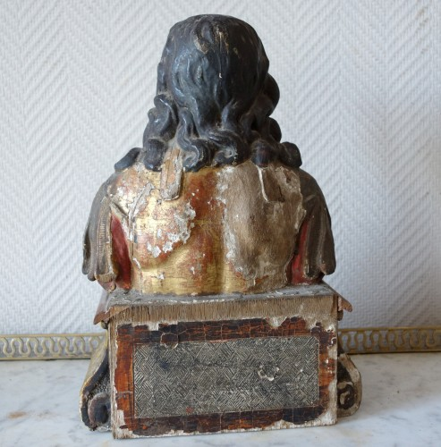 Louis XIV - Pair of reliquary busts in polychrome and gilded wood