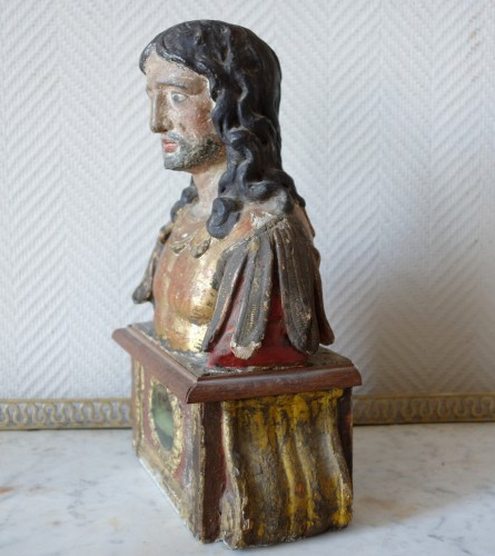 Antiquités - Pair of reliquary busts in polychrome and gilded wood