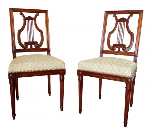 Pair of mahogany Lyre chairs by Georges Jacob