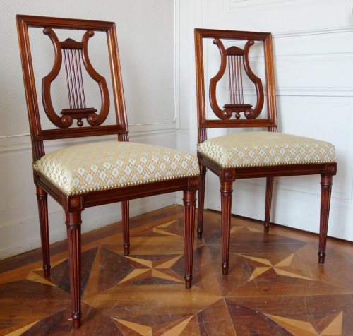 Seating  - Pair of mahogany Lyre chairs by Georges Jacob