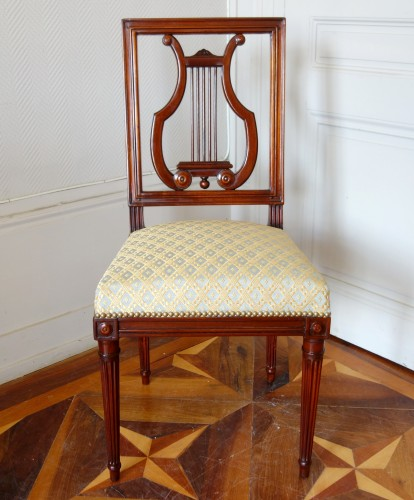 Pair of mahogany Lyre chairs by Georges Jacob -