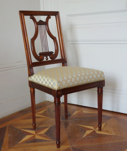 18th century - Pair of mahogany Lyre chairs by Georges Jacob