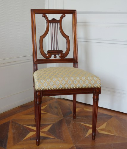 Louis XVI - Pair of mahogany Lyre chairs by Georges Jacob