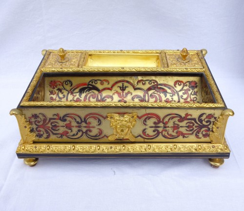 Louis XIV Style Inkwell - Boulle Marquetry And  Ormolu Bronze - Circa 1850 - Decorative Objects Style Napoléon III