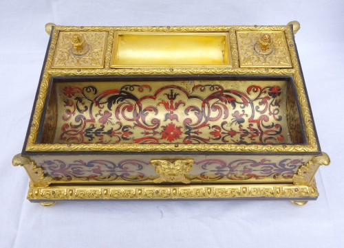 Decorative Objects  - Louis XIV Style Inkwell - Boulle Marquetry And  Ormolu Bronze - Circa 1850