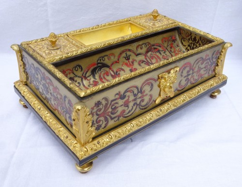 Louis XIV Style Inkwell - Boulle Marquetry And  Ormolu Bronze - Circa 1850 -