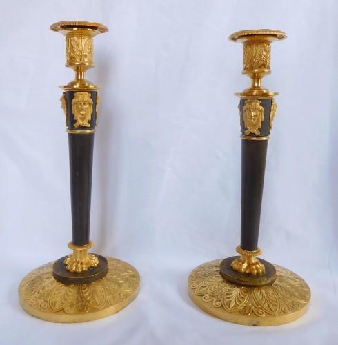 Claude Galle : pair of Empire ormolu candlesticks - Lighting Style Empire