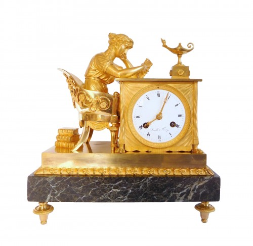 Empire Ormolu Clock - The Reader, After Reiche By Claude Galle & Arnould