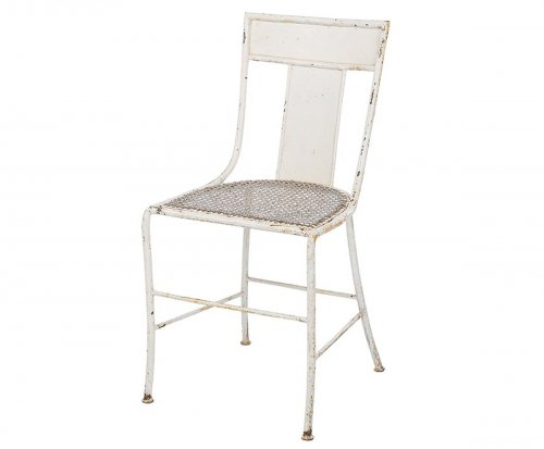 A A Rateau - chair in white lacquered metal
